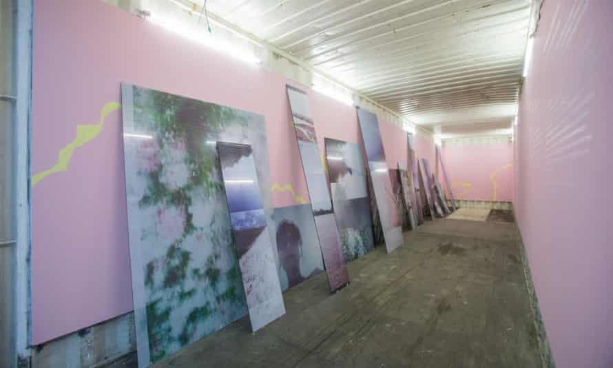 Work by Gvantsa Jishkariani on display in a shipping container at Project Artbeat, Tbilisi, Georgia
