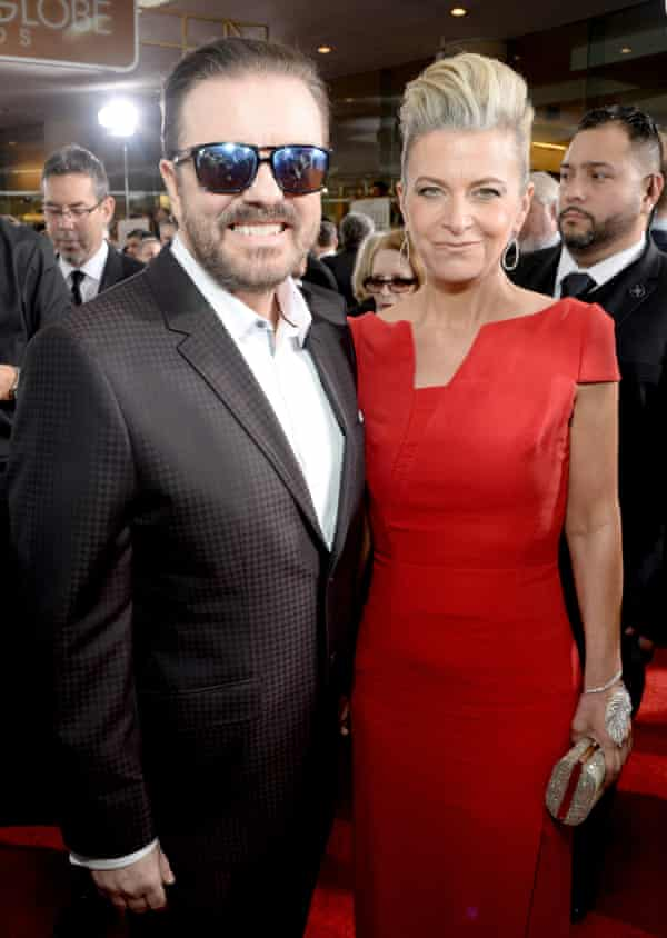 Jane Fallon with her partner, Ricky Gervais, in Beverly Hills this month.