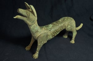 The bronze sculpture of a 'licking dog' discovered in Gloucestershire by metal detector enthusiasts Pete Cresswell and Andrew Boughton.