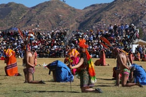 Actors playing the part of the Inca's subjects kneel. They represent retinues and soldiers from the four regions of the Inca empire known as Tawantinsuyu, in the Quechua language still spoken today by some 4m Peruvians.