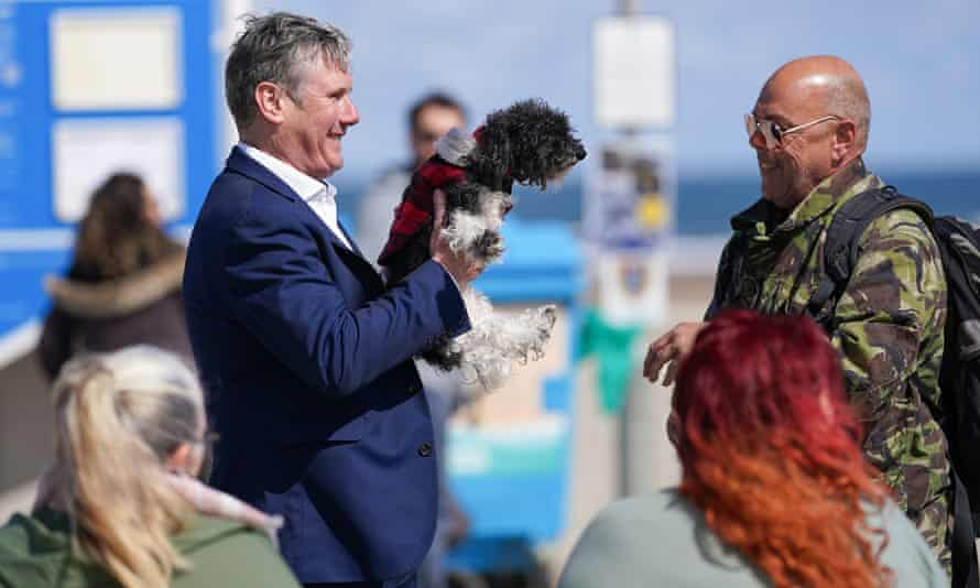 Kier Starmer campaigns on Seaton Carew, Co Durham, on 1 May.