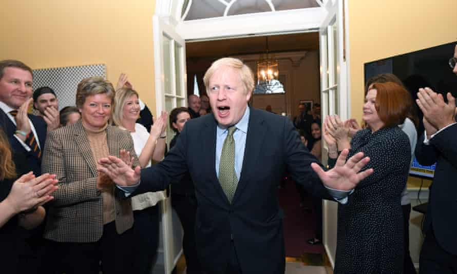 Boris Johnson at No 10 Downing Street after his election victory, December 2019