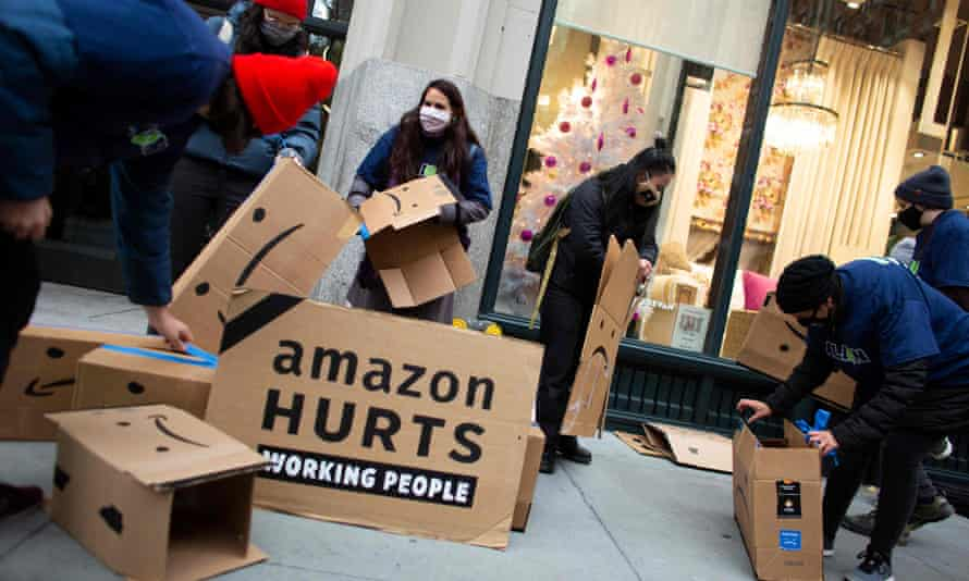 An Amazon protest in New York. 'Unbelievably, the two richest people in America, Jeff Bezos and Elon Musk, now own more wealth than the bottom 40% of Americans combined.'
