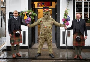 South Queensferry, Scotland: Burryman Andrew Taylor parades through the town