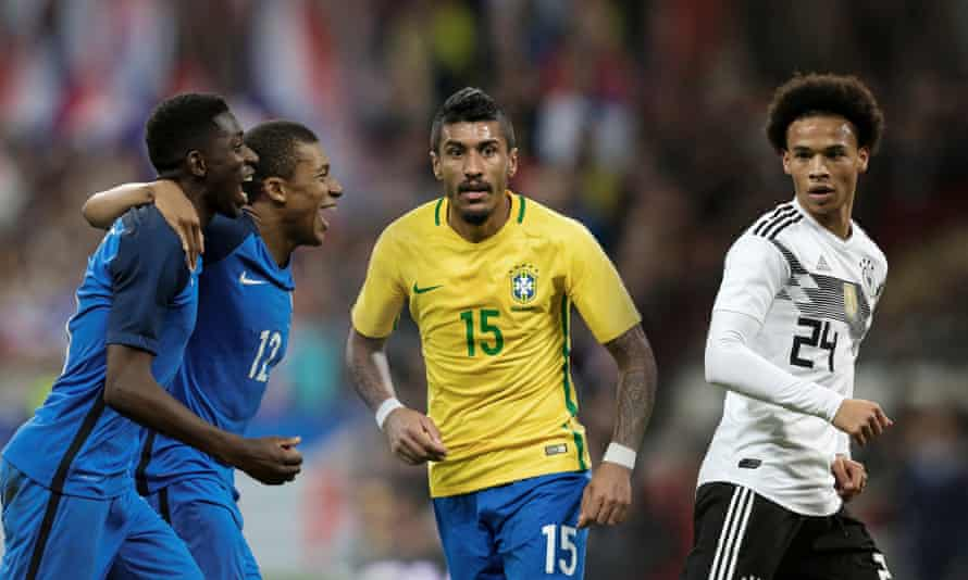 On the road to Russia: France's Ousmane Dembélé and Kylian Mbappé, Brazil's Paulinho and Leroy Sané of Germany.