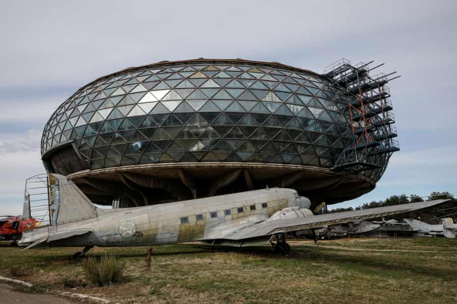 A formally used Yugoslav passenger aircraft sits in front of the Aeronautical Museum in Belgrade, Serbia