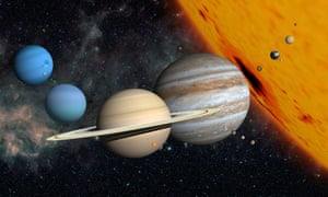 planets and larger moons to scale with the Sun.