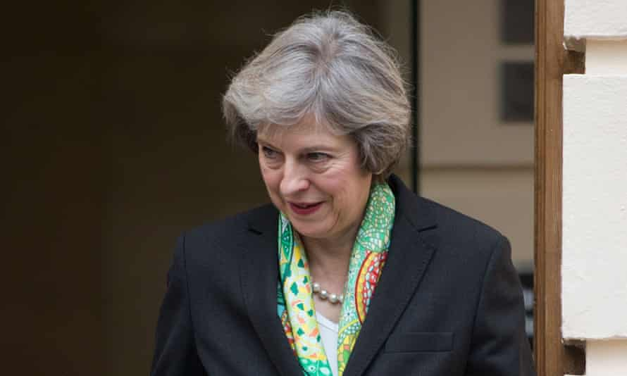 Theresa May arriving at the Royal Society in London on Monday to deliver a speech on mental health