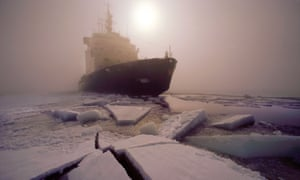 Finnish icebreaker Sisu breaking ice in the Gulf of Bothnia