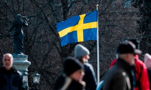 The Swedish flag in Stockholm during the the Covid-19 pandemic