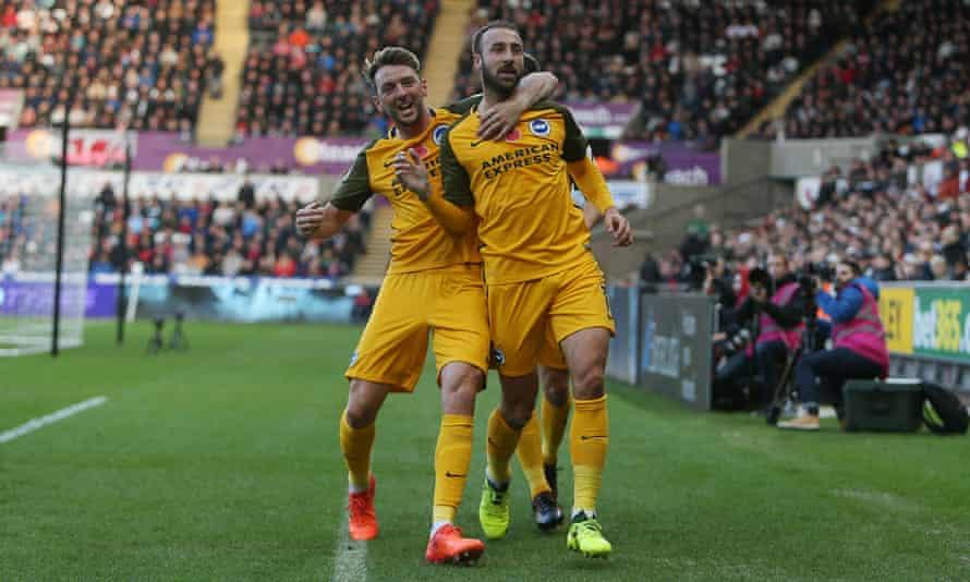 Glenn Murray celebrates scoring the opening goal for Brighton against Swansea with Dale Stephens.