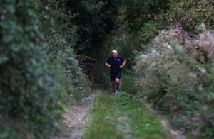 Oxfordshire, England Former foreign secretary Boris Johnson jogs near his home in Oxfordshire