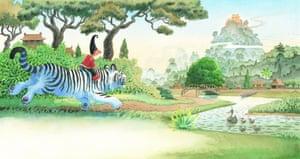 Tashi on a white tiger