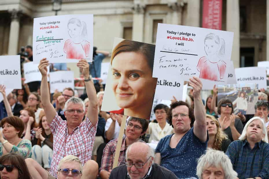 Supporters at a rally in Trafalgar Square, London, celebrate what would have been the Jo Cox's 42nd birthday on 22 June 2016.