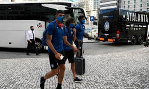 Atalanta's players arrive in Lisbon for Wednesday's Champions League quarter-final tie with Paris Saint-Germain.