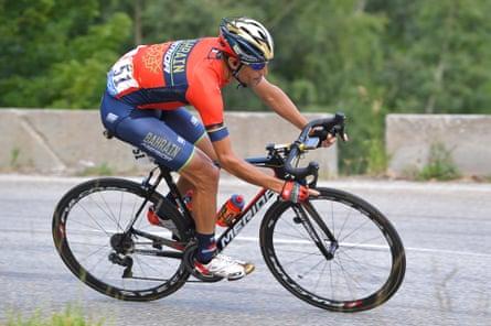 Vincenzo Nibali riding for Bahrain-Merida in 2018.