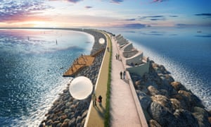Tidal Lagoon Power's visualisation of a six-mile sea wall with turbines to generate low-carbon electricity at Swansea Bay