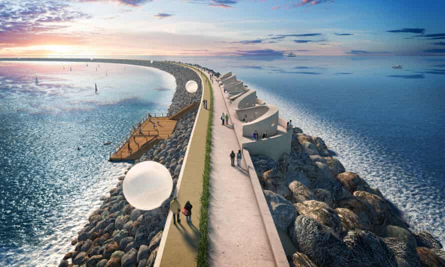 An artist's impression of the tidal lagoon at Swansea Bay.