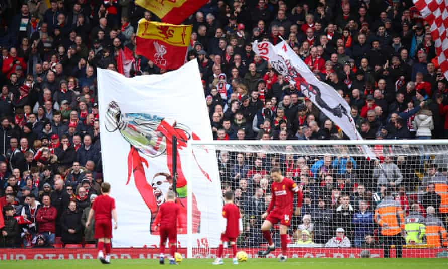 A banner at Anfield pays tribute to Jordan Henderson. He says the club is 'like a big family'.