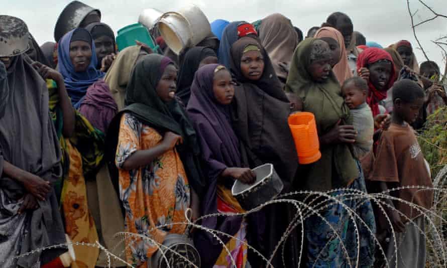 Internally displaced Somalis at Badbaado refugee camp in Mogadishu.