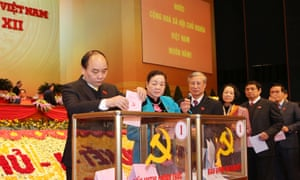 Voting takes place  to elect members of the 12th central committee of the Communist party of Vietnam  in Hanoi on Tuesday