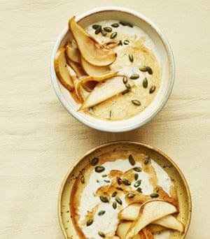 Anna Jones' maple syrup pears and porridge.