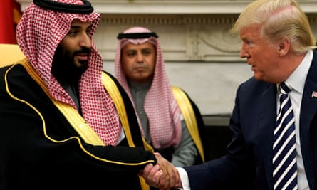 Mohammed bin Salman and Donald Trump at the White House in March 2018.