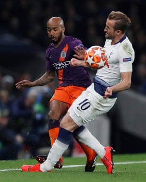 Harry Kane was forced off after a heavy challenge from Manchester City's Fabian Delph.