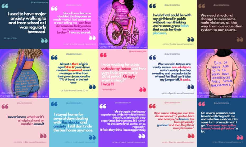 Patchwork graphic with quotations from different women and girls.