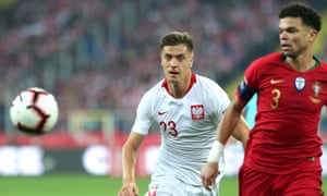 Krzysztof Piatek, seen here for Poland against Portugal earlier this month, has scored eight goals in eight league games this season for Genoa.