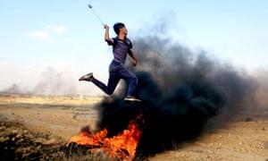 Palestinian with a slingshot