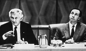 Bob Hawke and Paul Keating led Labor governments from 1983 to 1996. Labor was able to moderate union wage demands by increasing the 'social wage' under the accord agreements.