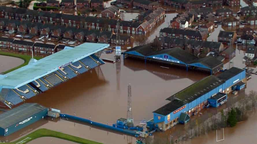 The scene at Brunton Park after the flooding.
