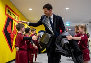 Watford Manager Javi Gracia greets the mascots as he arrives at Wembley Stadium for the FA Cup semi-final against Wolves.