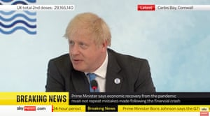 Boris Johnson speaking at the first session of the G7