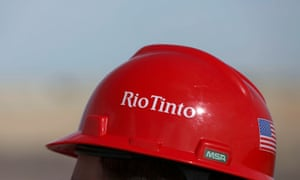 The Rio Tinto logo is displayed on a visitor's helmet at a borates mine in Boron, California