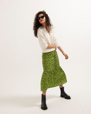 Rafaella wears paisley skirt, £35, topshop.com. Cardigan, £115, by Iris & Ink, from theoutnet.com. Boots, £95, office.co.uk. Sunglasses, £98, by Ace & Tate, from arket.com