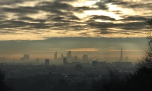 Air pollution over London seen from Parliament Hill