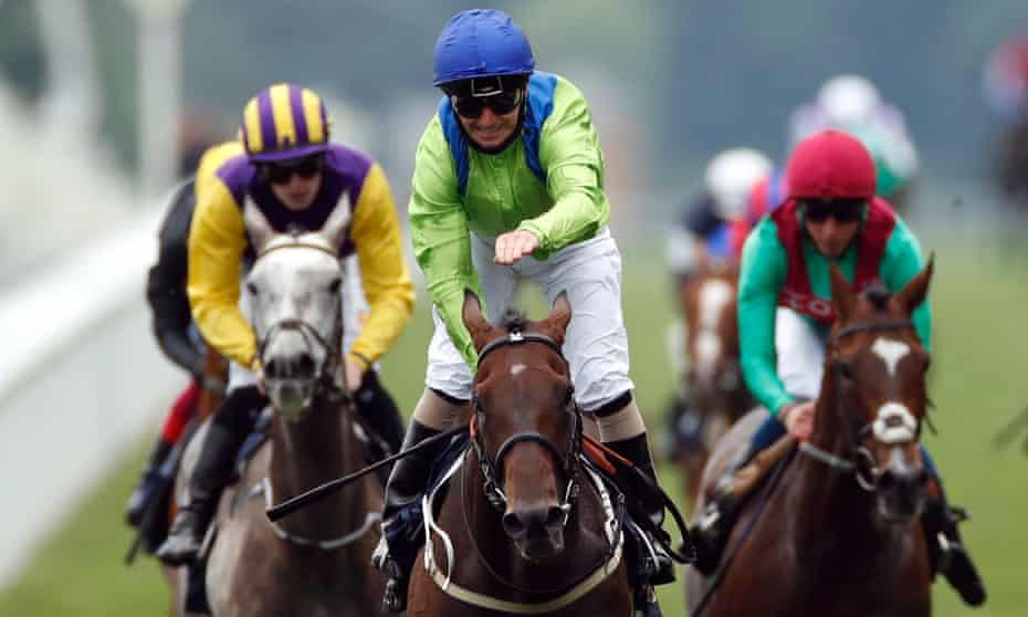 Joe Fanning celebrates on Subjectivist on his way to winning the Gold Cup at Royal Ascot.