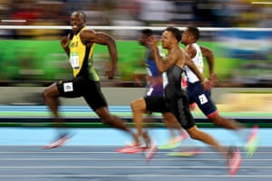 Usain Bolt of Jamaica competes in the men's 100m semi-final at the Rio Olympics
