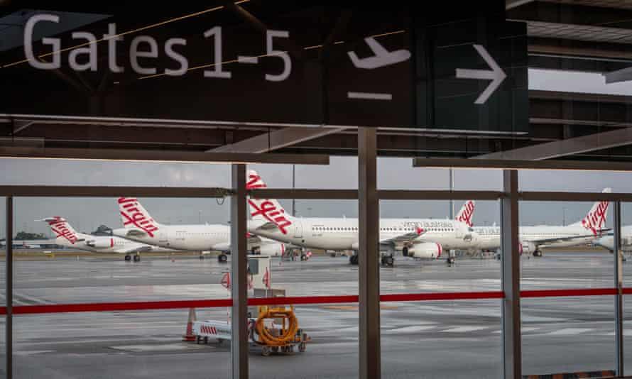 Virgin Australia aircraft at T2 Perth domestic airport