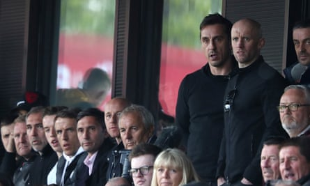 Gary Neville watches Salford City play Eastleigh in last season's National League play-offs