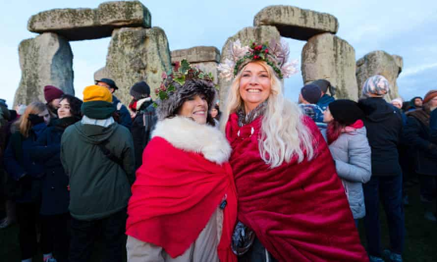 Revellers take part in the winter solstice celebrations at Stonehenge in Wiltshire