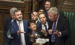 MPs urge the speaker, John Bercow, right, to watch video footage of labour leader Jeremy Corbyn supposedly muttering a sexist remark during prime minister's questions.