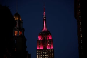 The Empire State Building is seen lit in pink for International Women's Day in Manhattan, New York, U.S., March 8, 2017. REUTERS/Mike Segar