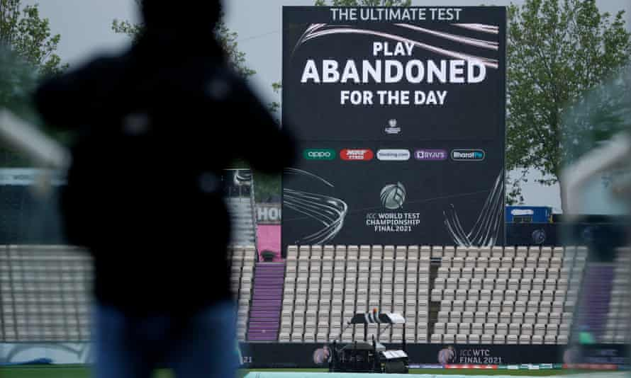 The big screen displays a message that play has been abandoned for the day.