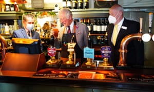 Prince Charles visiting a pub in Ponthir, near Newport, on Friday.