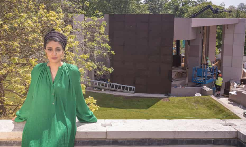 'Mother tongues, mother sounds, recipes from far away' … Sumayya Vally, during construction of her pavilion.
