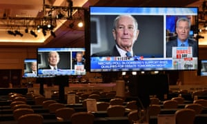 An image of Michael Bloomberg appears on a video monitor inside the media center for Wednesday's Democratic presidential debate in Las Vegas, Nevada.