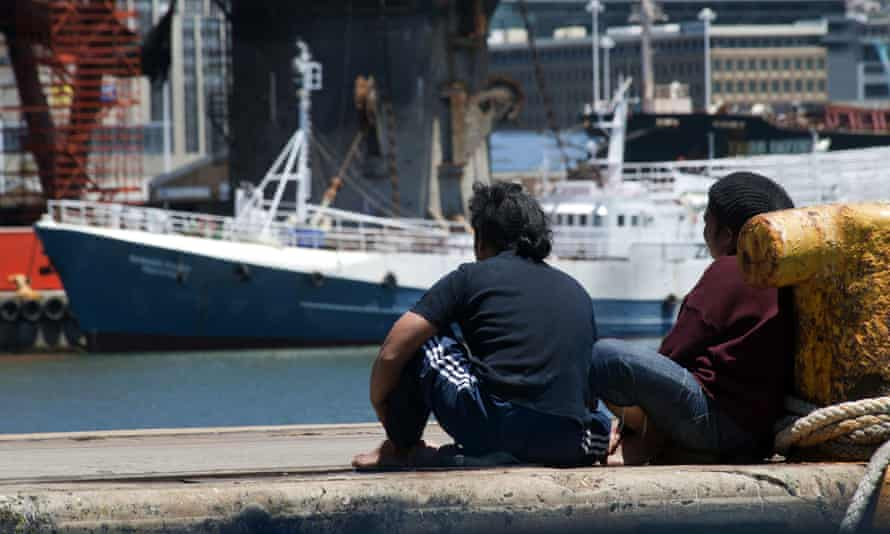 Indonesian fishermen in Cape Town harbour